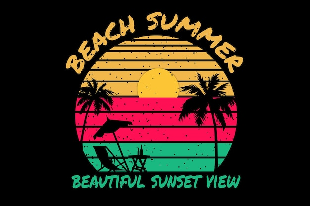 T-shirt design with beach summer beautiful sunset in retro style