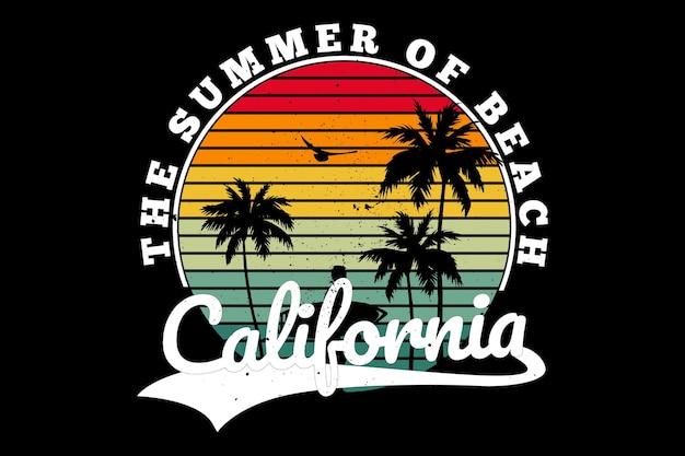 T-shirt design with beach surfing summer california in retro