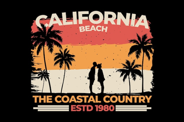 T-shirt design with california beach country beach in retro style