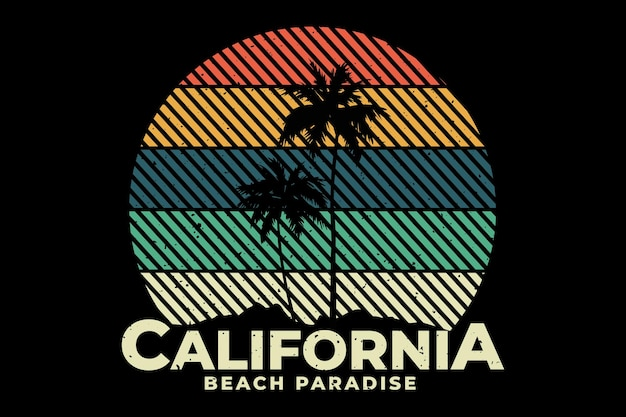 T-shirt design with california beach paradise in retro style