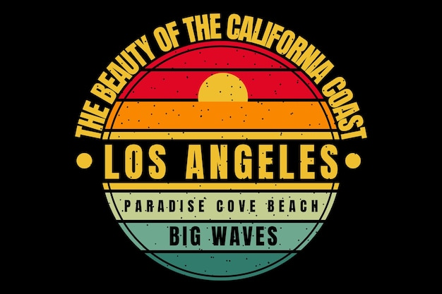 T-shirt design with california coast waves sunset in retro style
