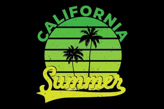 カリフォルニア夏の美しいグラデーションのtシャツデザイン