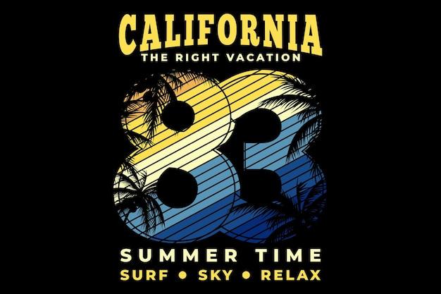 カリフォルニア休暇の夏のサーフ スカイを使った t シャツのデザインは、レトロなスタイルでタイポグラフィをリラックスします