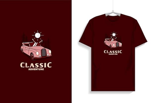 Дизайн футболки с классическим автомобилем