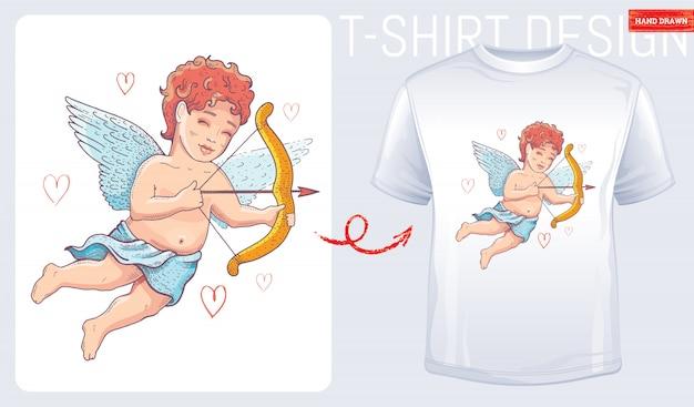 Дизайн футболки с милым купидоном-херувимом.