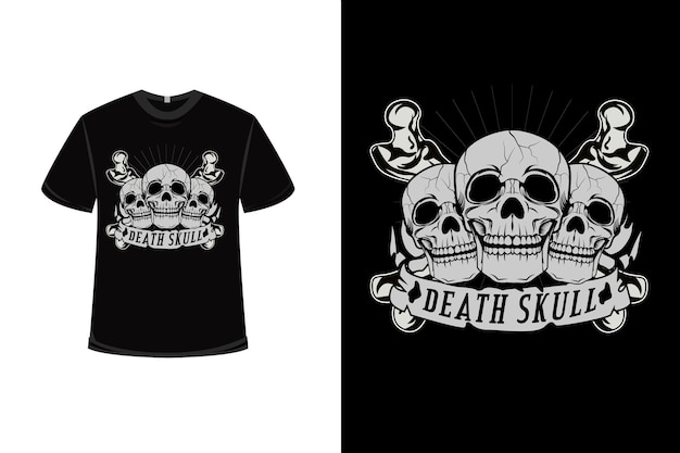 T-shirt design with death skull in gray