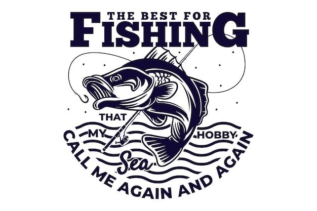 釣り竿の海のビンテージ スタイルの t シャツ デザイン