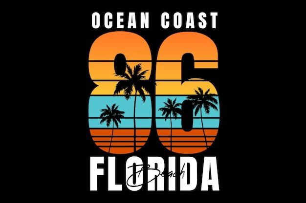 T-shirt design with florida sunset beach ocean text vintage