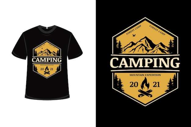 T-shirt design with forest camp mountain expedition in yellow