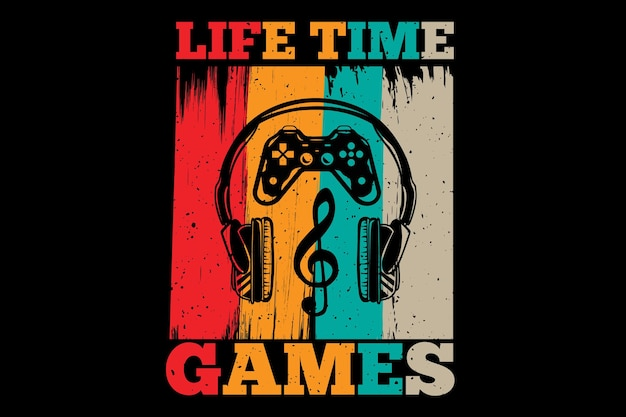 T-shirt design with games console typography in retro vintage style