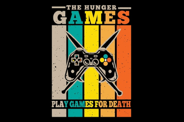 T-shirt design with games hunger play in retro style
