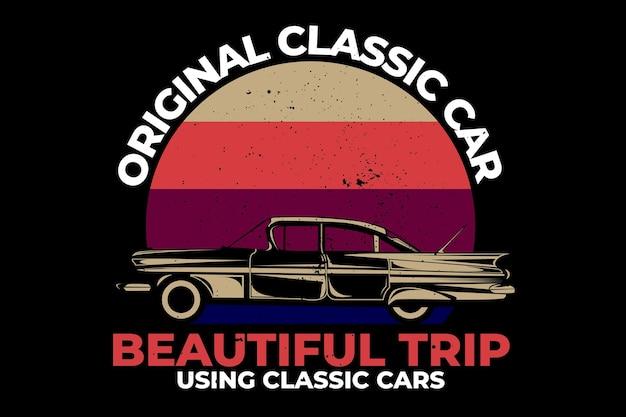 T-shirt design with hawaii original classic car beautiful trip in retro