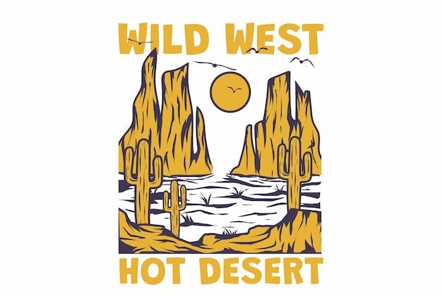 복고풍 사막 와일드 웨스트 선인장 자연 빈티지 스타일 손으로 그린 티셔츠 디자인