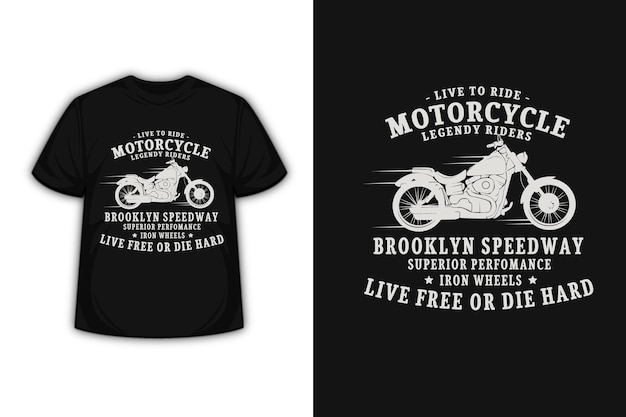 T-shirt design with motorcycle legend riders in cream