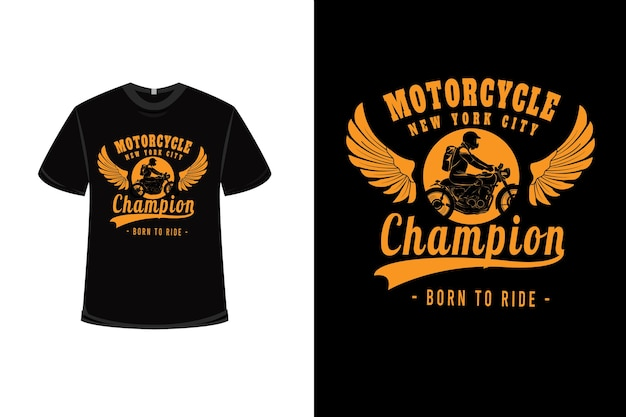 노란색 오토바이 뉴욕시 챔피언과 티셔츠 디자인