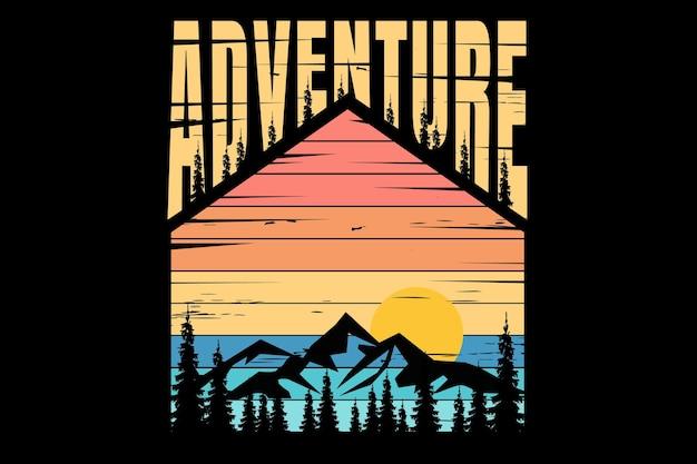 Дизайн футболки с типографикой mountain adventure, винтаж в стиле ретро, сосновое солнце