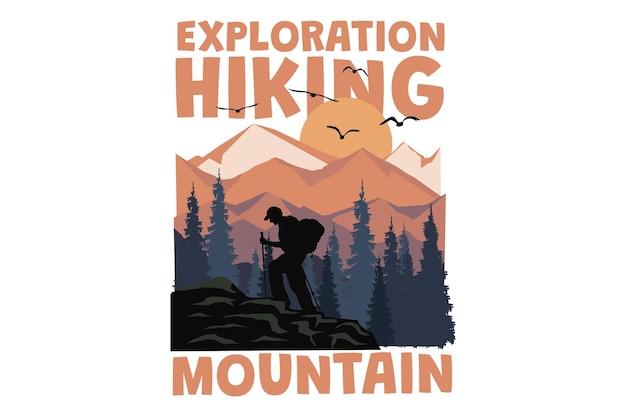 Дизайн футболки с изображением горных походов в винтажном стиле ретро