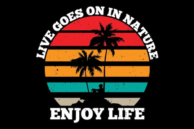 T-shirt design with nature life beach in retro style