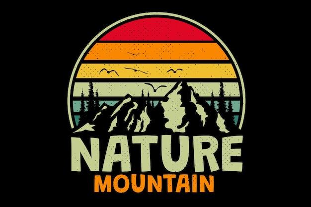 Дизайн футболки с природной горной сосной в ретро винтажном стиле