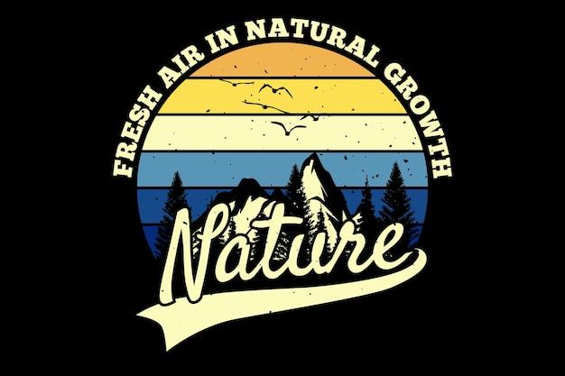 Дизайн футболки с природной горной сосной в ретро-винтажном стиле