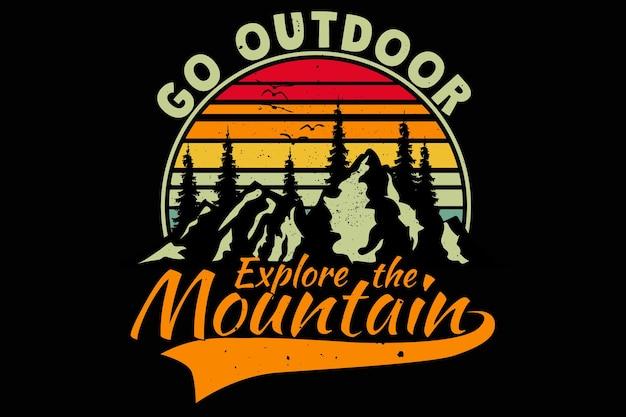Дизайн футболки с приключениями на открытом воздухе pine mountain explore в винтажном ретро-стиле