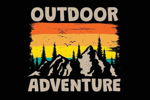 Дизайн футболки с приключениями на открытом воздухе сосна гора в ретро стиле винтаж