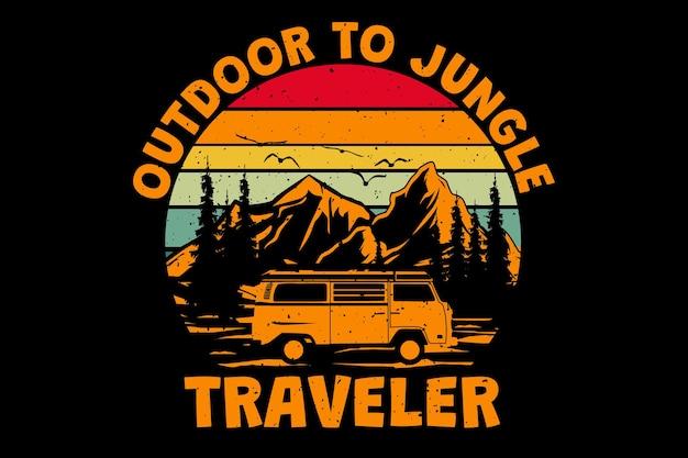 Дизайн футболки с открытым изображением джунглей путешественника сосновой горы в винтажном стиле ретро