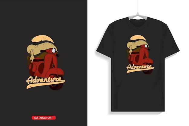 스쿠터 삽화가있는 티셔츠 디자인