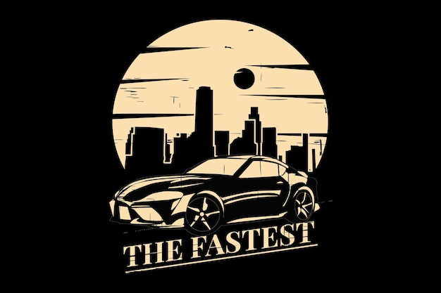 T-shirt design with silhouette car race city style in retro vintage Premium Vector
