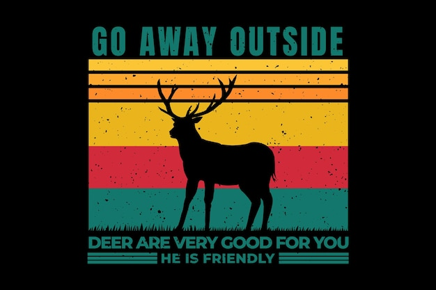 T-shirt design with silhouette deer friendly in retro style