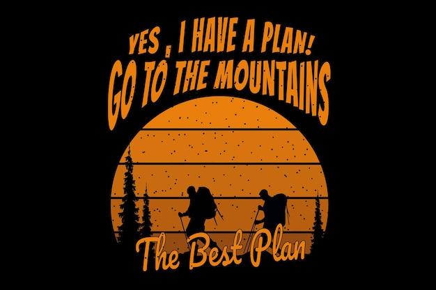 Дизайн футболки с силуэтом походной горной сосны в стиле ретро