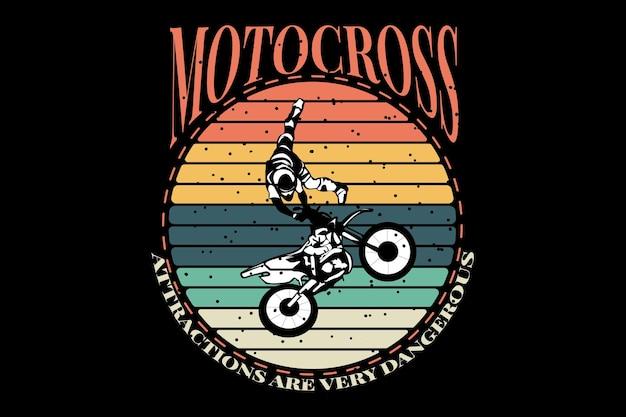 레트로 빈티지의 실루엣 모토 크로스 매력이있는 티셔츠 디자인