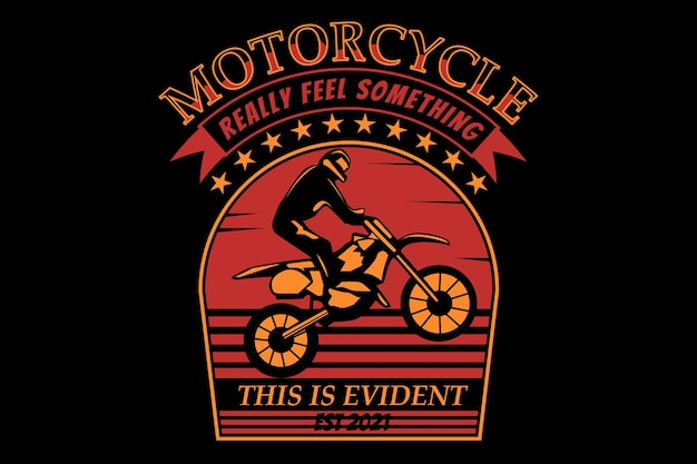 T-shirt design with silhouette motorcycle vintage style in retro