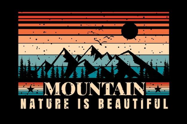 레트로 빈티지 스타일의 아름다운 실루엣 산 자연과 티셔츠 디자인