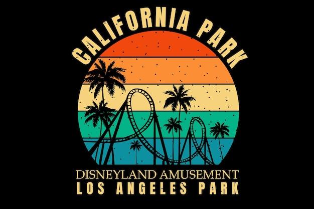 T-shirt design with silhouette park amusement california in retro style