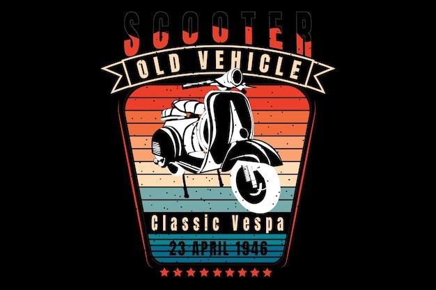 레트로 빈티지의 실루엣 스쿠터 클래식 차량이있는 티셔츠 디자인