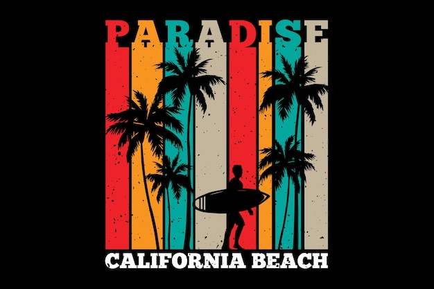 T-shirt design with silhouette surf paradise palm california beach in retro style