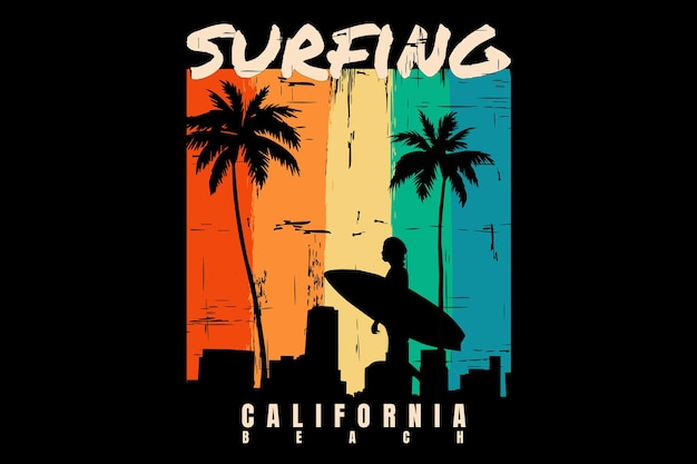 T-shirt design with silhouette surfing beach sunset california beautiful in retro style