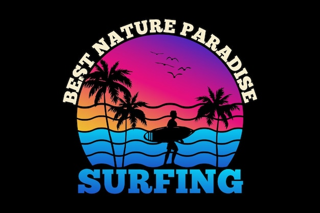 T-shirt design with silhouette surfing nature paradise surfing summer sunset in retro style