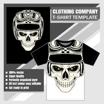 T-shirt design with skull