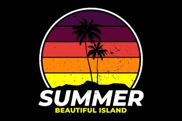 夏の美しい島をレトロ風にデザインしたtシャツ