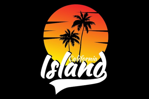 T-shirt design with sunset island california beautiful sky