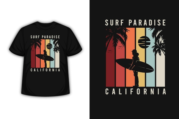 레드 오렌지와 그레이의 서핑 파라다이스 캘리포니아 티셔츠 디자인
