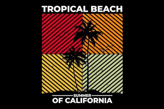 トロピカルビーチの夏のカリフォルニアをレトロなスタイルでデザインしたtシャツ