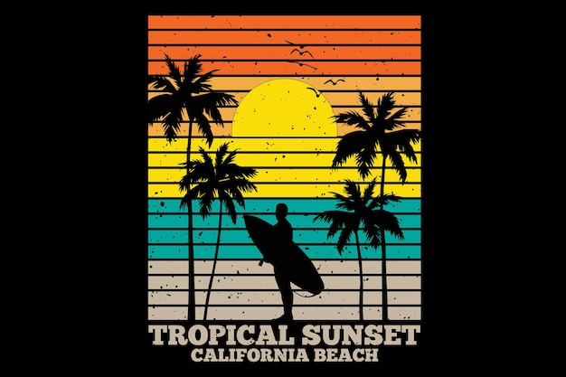 T-shirt design with tropical sunset california beach in retro style