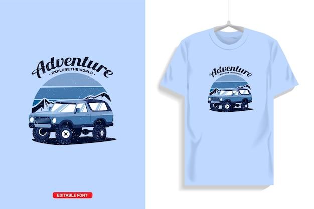 오프로드에서 트럭 일러스트가있는 티셔츠 디자인