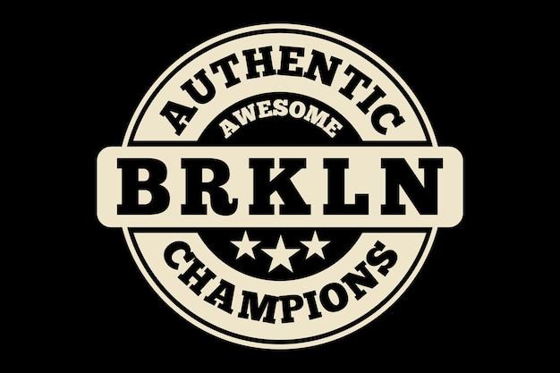 타이포그래피 정통 브루클린 챔피언스 빈티지 티셔츠 디자인