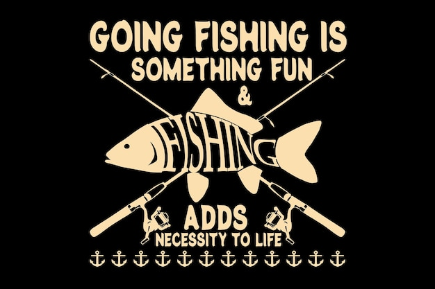 T-shirt design with typography fishing rod vintage style
