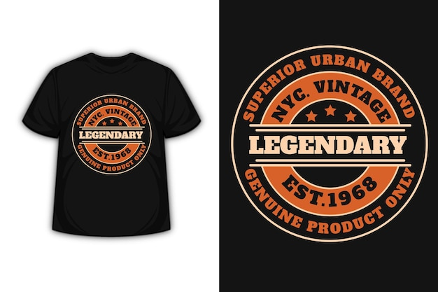 T-shirt design with typography new york city vintage in orange and cream