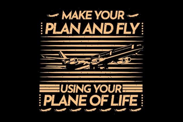 Дизайн футболки с планом типографии и летать силуэт самолета в винтажном стиле